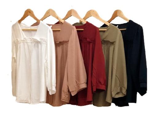 Imagen 1 de 2 de Camisa Con Volados Mangas 3/4 Camisas Mujer Cuotas