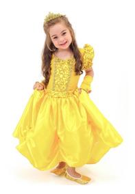 Fantasia Vestido Princesa Bela Ea Fera Infantil Luvas Coroa