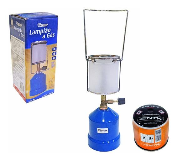 Lampião Camping A Gás Com Cartucho Refil De Gás Butano