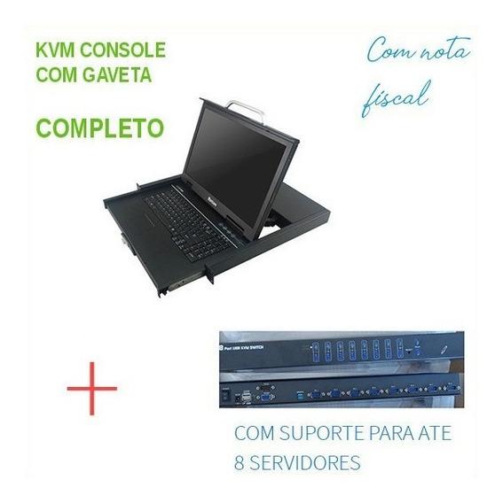 Kvm Console Lcd 17 Retrátil C/ Switch 8 Portas P/ Servidores