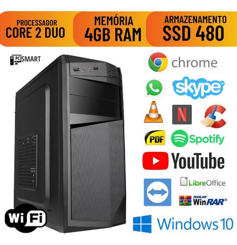 Imagem 1 de 8 de Cpu Montada Core 2 Duo 4gb Ssd 480 Windows 10