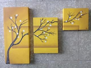 Cuadros Decorativos Modernos Para Sala Árbol Ocre Triptico