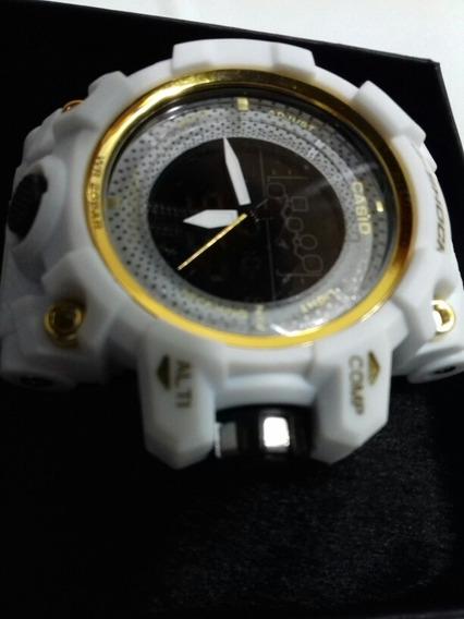 Relógio Sh Branco E Dourado Lançamento