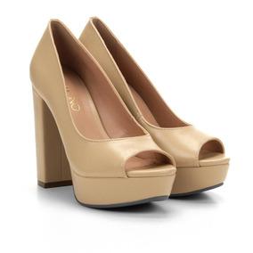 42c9abd6cc Sapato Peep Toe Salto Quadrado - Sapatos no Mercado Livre Brasil
