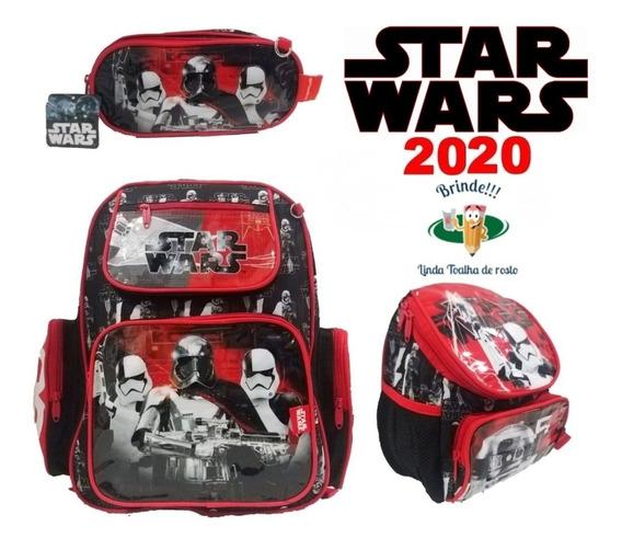 Kit Mochila Star Wars De Costas Infantil Escola 3 Peças
