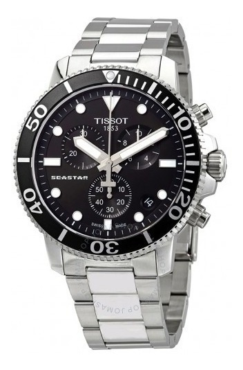 Relógio Tissot Seastar 1000 Cronógrafo Preto/prata Diver