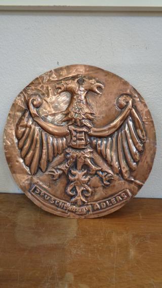 Antigua Placa De Cobre Repujado Deusche Adlers