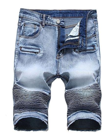 Pantalones Cortos De Jeans Rasgados En Forma Recta Apenada
