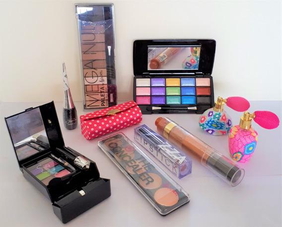 Kit Maquiagem Blush Porta Batom Perfumes Cuidados Pessoais