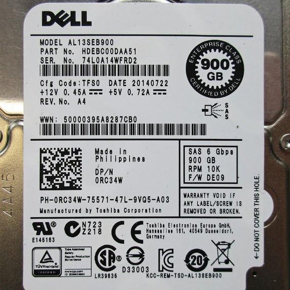 Hd Sas Dell 900gb 2.5 10k Al13seb900 Gaveta Nf Garantia