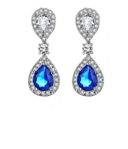 Brincos Gotas De Água Azul Elegante Pingente Gotas De Água