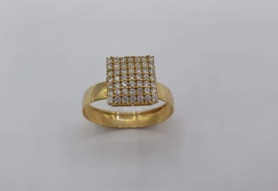 Anel Debutante Carre Princesa Noivado Ouro 18 K 750