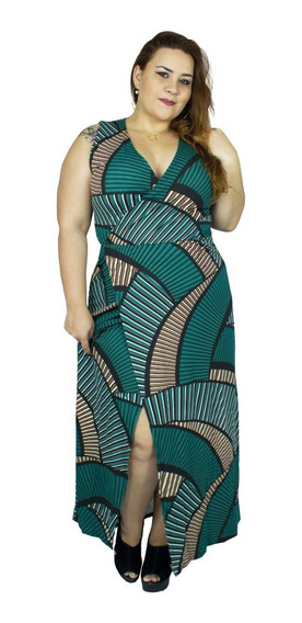 Vestido Longo Transpassado Plus Size