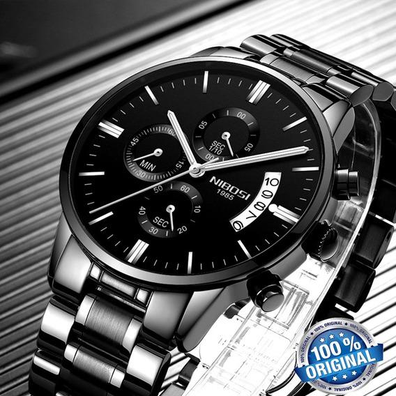 Relógio Nibosi 2309 Preto Casual Aprova D