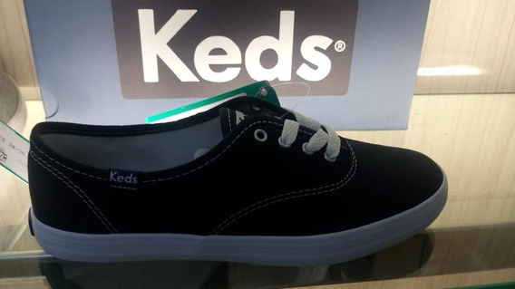 Kd102256 - Tênis Keds Champion Leather Preto Tecido Original