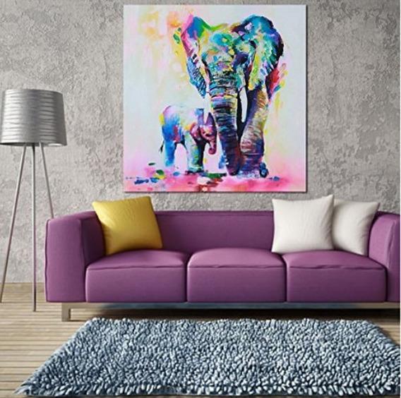Cuadro De Elefante Pintado A Mano Moderno Acuarela Oferta