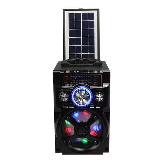 Caixa Som Portatil Solar Lelong Radio Am/fm Bluetooth