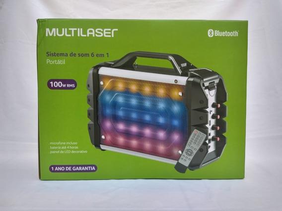 Caixa De Som Multilaser 6 Em 1 Portátil 100w Rms Bluetooth