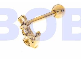 Piercing Tragus,cartilagem, Brinco Banhado A Ouro Ancora