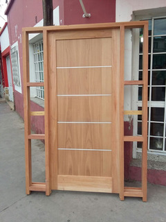Puerta Moderna Madera Cedro 2 Con 2 Paneles Laterales