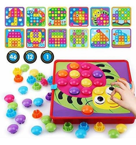 Toycraz Button Art Toys Para Niños Pequeños, Mosaico De Colo