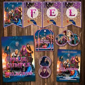 Kit Descendientes 2 Invitaciones, Stickers, Banderín Impreso