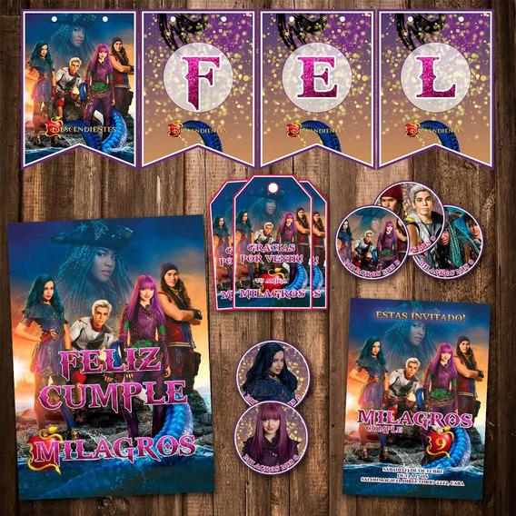 Kit Descendientes 2 Invitaciones Candy Bar Banderín Impreso