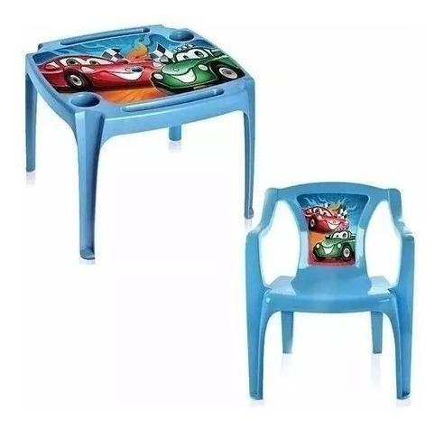 Mesa Mesinha Infantil Com 1 Cadeiras Carros Menino + Brinde