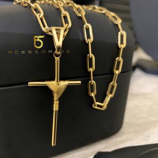 Cordão Correntinha Masculina Banhada A Ouro Cartier 4mm Com Pingente Crucifixo Banhado Ouro 750 Super Promoção