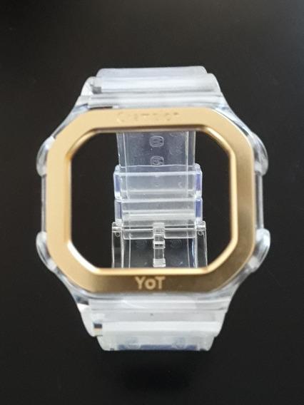 Pulseira Champion Yot Transparente + Aro Dourado