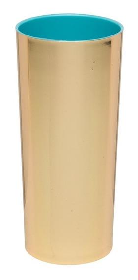 Kit 100 Copos Long Drink Metalizado Dourado Com Azul Tiffany