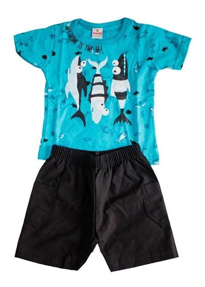 Camisa E Bermuda Fundo Do Mar