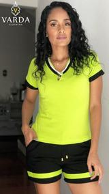 3 Conj. Blusa + Short | Varda Clothing | Verde E Preto