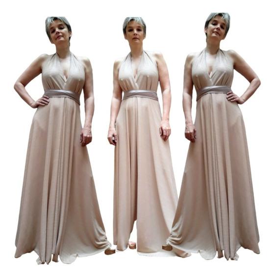 Vestido De Fiesta Largo Elastizado Hasta 3xl Color Nude