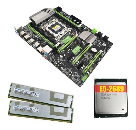 Kit Placa Mãe Lga 2011 + Xeon E5 2689 + Memoria Ram Ecc 8gb