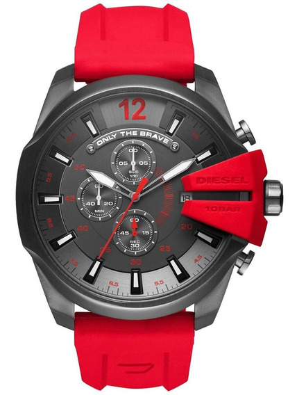 Relógio Diesel Dz4427 Preto Pulseira Borracha Vermelha