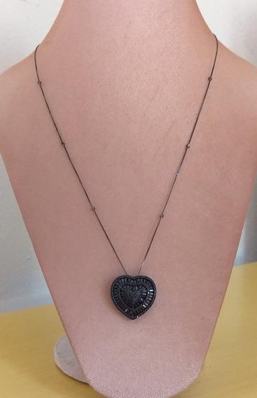 Colar Coração Prata 925 Banho Ródio Negro E Zircônias Negra