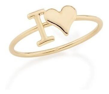 Anel Rommanel Skinny Ring I Love 512206 Folheado A Ouro