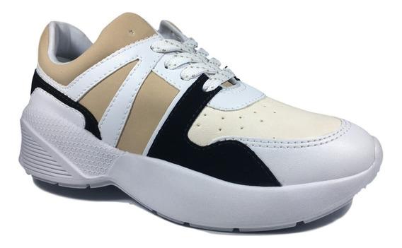 Tênis Feminino Ramarim Sneaker Nobuck Branco E Beje
