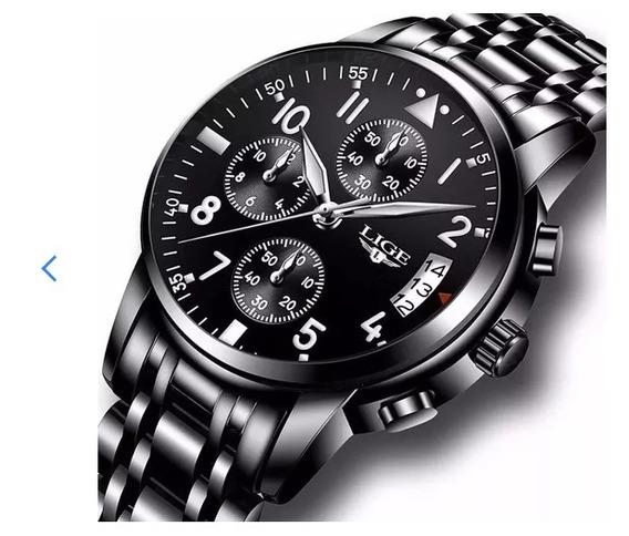 Relógio Masculino Lige Original Funcional Militar 9825