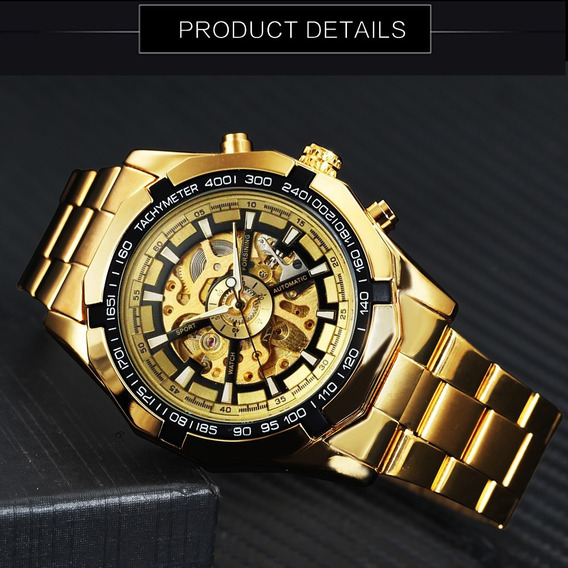 Relógio Automático Forsining Visor Dourado Importado