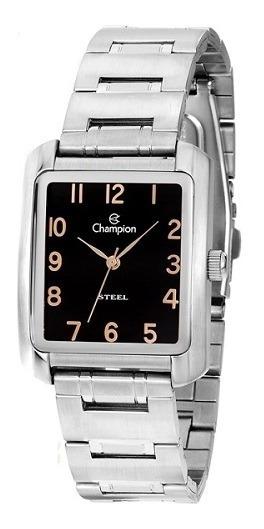 Relógio Champion Feminino Prata Quadrado Ca20661t Original