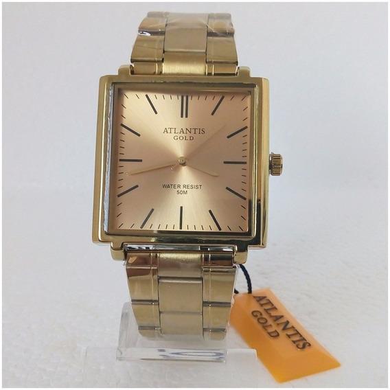 Relógio Masculino Atlantis A3173 Quadrado Dourado Original