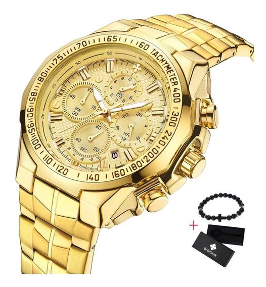 Relógio Masculino Wwoor Dourado 100% Funcional + Pulseira