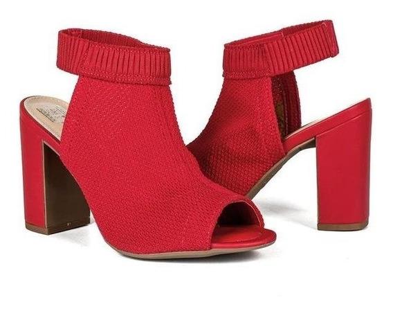 Sandália Salto Alto Dakota Z3662 Malha Vermelho