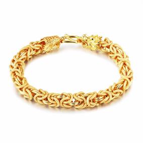 Bracelete Masculina Ouro Folheado 18k Dragão Barato