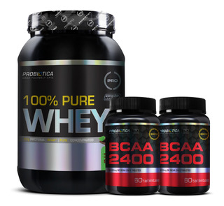 100% Pure Whey 900g - 2x Bcaa 2400 Monster 60 Caps