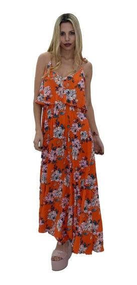 Vestido Largo Mujer Estampado Floreado Verano