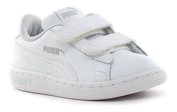 Zapatillas Puma Smash V2 Blancas De Niños