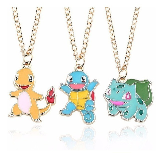 Kit 3 Colares Pokemon Charmander Bulbasauro Squirtle